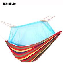Outdoor Picnic Garden Hammock Hang Bed Portable Travel Camping Swing Canvas Stripe Mosquito net Hang Bed Furniture Hammock цены онлайн