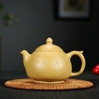 300ml Chinese Yixing Zisha Pot Gold Section Mud Kettle Xu Fanghuai Handmade Tea Set Engraving The Word Free Shipping