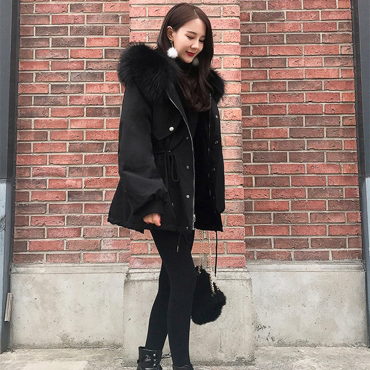 Autumn Winter New Thick Hooded Fur Collar Long   Parkas   Women Long Sleeve Lace-Up   Parka   Coat Solid Casual Loose Outerwear