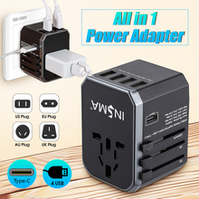Worldwide Travel Adapter Electric Plugs Sockets 4 USB Port 2.4A Fast Charing + Type-C Universal AC Wall Charger For EU/UK/US/AUS