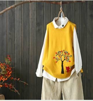 cats under tree kitty  pattern  sleeveless vest pullover sweater  2019 mori girl