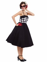 Sisjuly 2017 Ladies Black Vintage Dresses Plaid Design Knee High Summer Retro Spaghetti Strap Dress Vestido