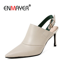 ENMAYER Genuine Leather Pointed toe Woman high heels Sandals Party shoes Summer Size 34-39 Causal Buckle strap Shoes women CR801 все цены