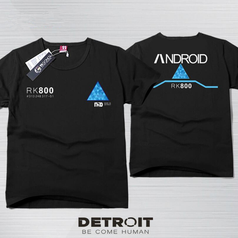 Detroit: Become Human T shirt Cosplay Connor Short Sleeve T-shirts Unisex Cotton Tee Top Costume