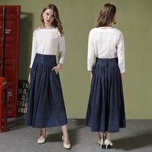 Autumn new arrival high-waist denim skirts womes fashion plus size pleated 1026