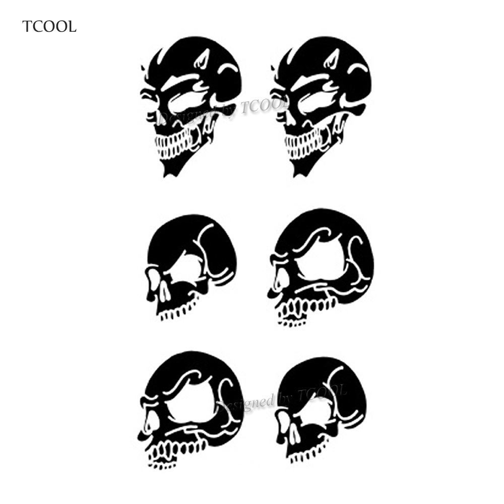 HXMAN Skull Temporary Tattoos Waterproof Women Fashion Fake Body Art Arm Tattoo Sticker 10.5X6cm Kids Face Hand Tatoo B-043