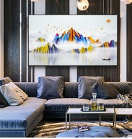 modern abstract hanging painting wall decorative painting The sun came out to climb the hill Water township art