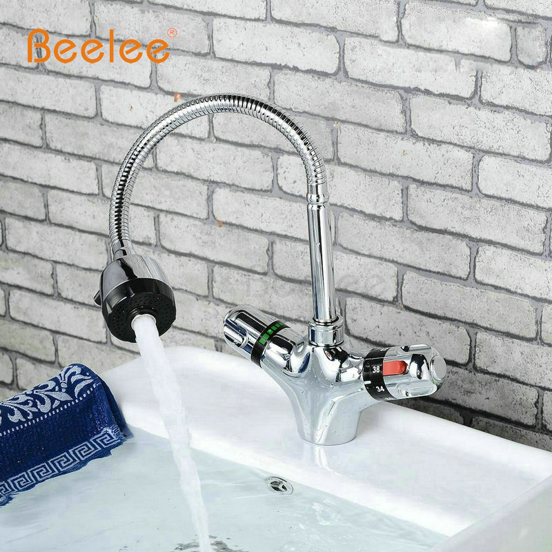 Beelee Thermostatic Kitchen Faucets,Dual Handle Auto-Thermostat Control Faucet Mixer Taps Bathroom Faucet BL0207A thermostatic control bathroom