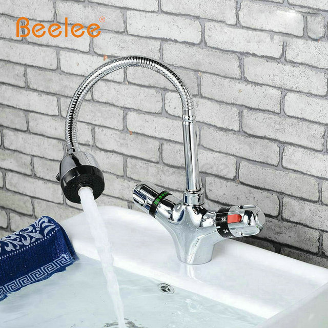 Beelee Thermostatic Kitchen Faucets,Dual Handle Auto Thermostat ...