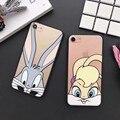 Bug conejo de Conejito lindo de La Manera transparente Caja Del Teléfono duro Para iPhone7 7 Plus 6 6 S Más 5 5S SÍ
