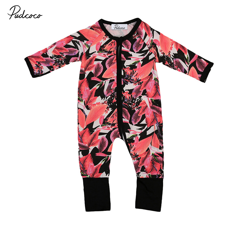 2017 Autumn Toddler Kids Boy Girl Long Sleeve Floral Romper Zipper Jumpsuit Playsuit One Pieces Outfit Clothes 2017 cotton toddler kids girls clothes sleeveless floral romper baby girl rompers playsuit one pieces outfit kids tracksuit