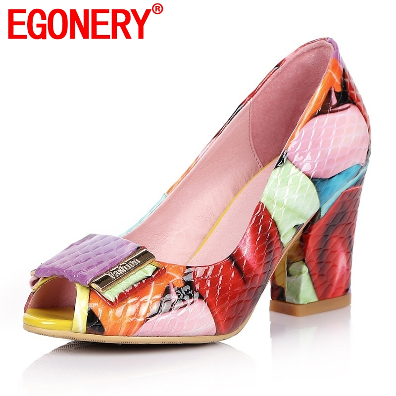 EGONERY genuine leather spring high heels women peep toe summer shoes fashion party dance shoes colorful large size woman pumps