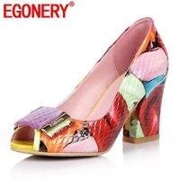 Oferta EGONERY, zapatos de verano de tacón alto de Primavera de cuero genuino para mujer, zapatos de moda para fiesta, zapatos de baile coloridos de talla grande para mujer