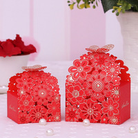 10 Pieces Wedding Candies Boxes European Style Hollow Out Flowers Butterfly Paper Material Festival Party Gift