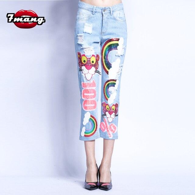 7 Манг Новинка 2017 летние женские Новинка Harajuku стильная футболка с изображением персонажей видеоигр Leopard блестки прямые джинсы улица Hole партии джинсы