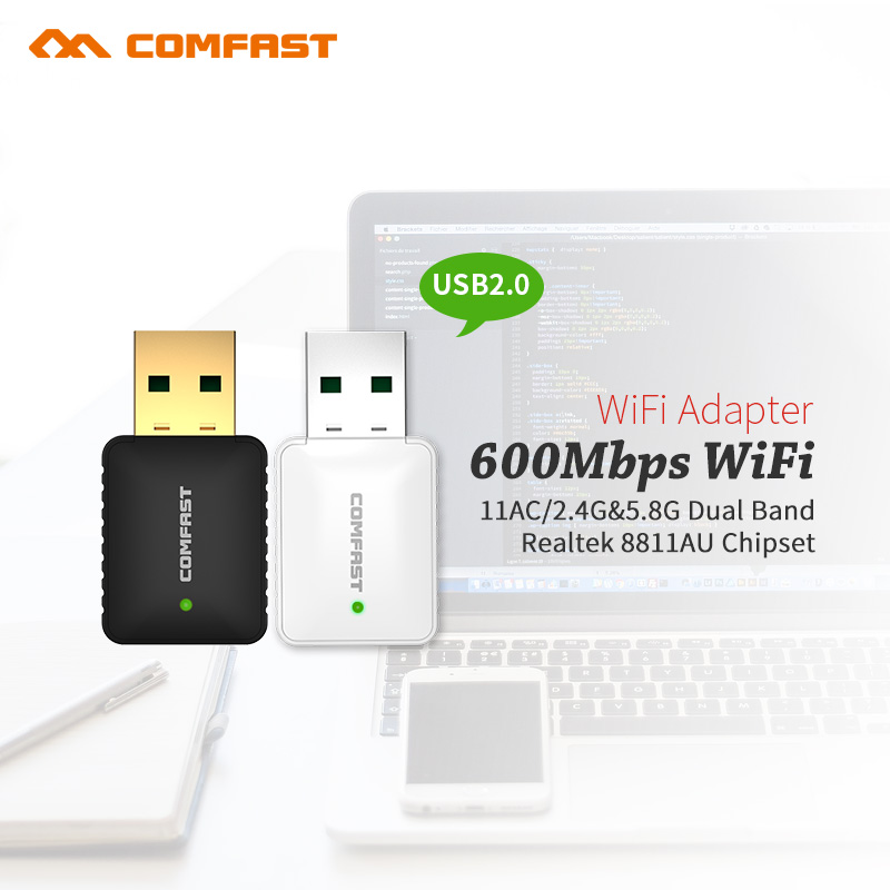 Dual Band 600Mbps 2.4GHz +5GHz USB Wireless Adapter Wifi Antenna 802.11a/b/g/n/ac Wi Fi USB Adapter for MAC/LINUX/Windows7/8/10