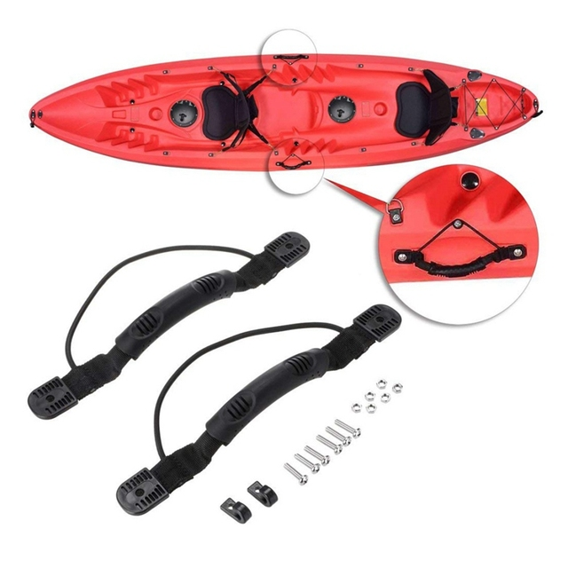 US $5 76 23% OFF|2Pcs/ Set Kayak Canoe Handles Boat Side Mount Carry Handle  with Bungee DIY Canoe Accessories Kayak side-in Rowing Boats from Sports &