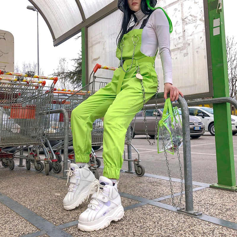 Ncligen Стильный комбинезон с карманами комбинезоны цепи пряжки женские подтяжки брюки свободные уличные Капри женские повседневные брюки