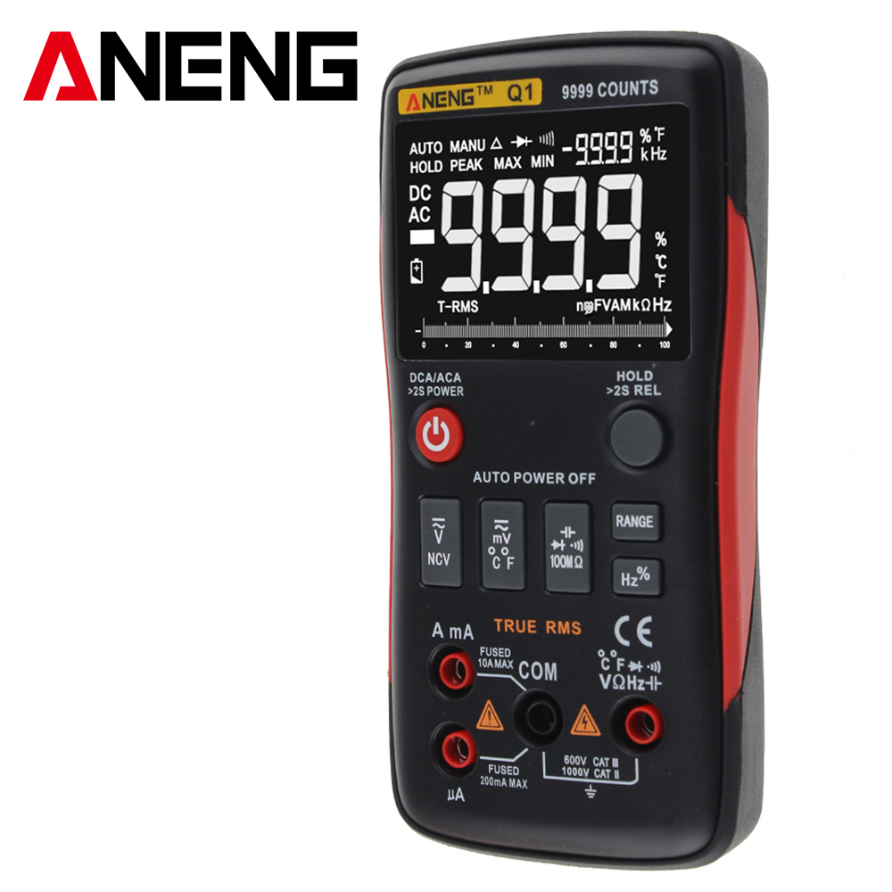 Q1 True-RMS Digital Multimeter Auto Button 9999 Counts Analog Bar Graph AC/DC Voltage Ammeter Current Ohm Transistor Tester bichot charles edmond graph partitioning