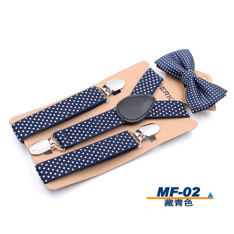 Braces With Clip Polka Dot Pattern Suspenders With Bow Tie Elastic Pants Belt
