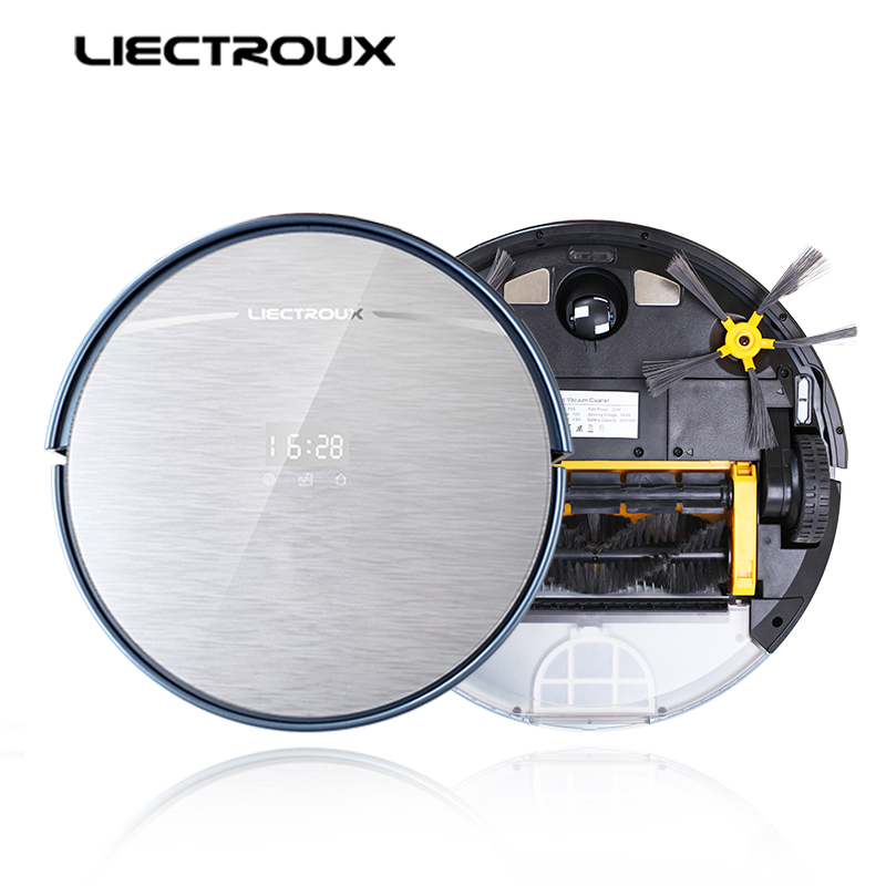 LIECTROUX X5S Robotique Aspirateur, WIFI APP Contrôle, Gyroscope Navigation, commutable Réservoir D'eau et La Poussière Bin pour Humide et Sec De Nettoyage