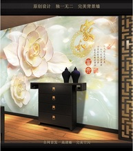 Special offer Customized wallpaper mural Chinese painting with stereo behind sofa as background livingroom