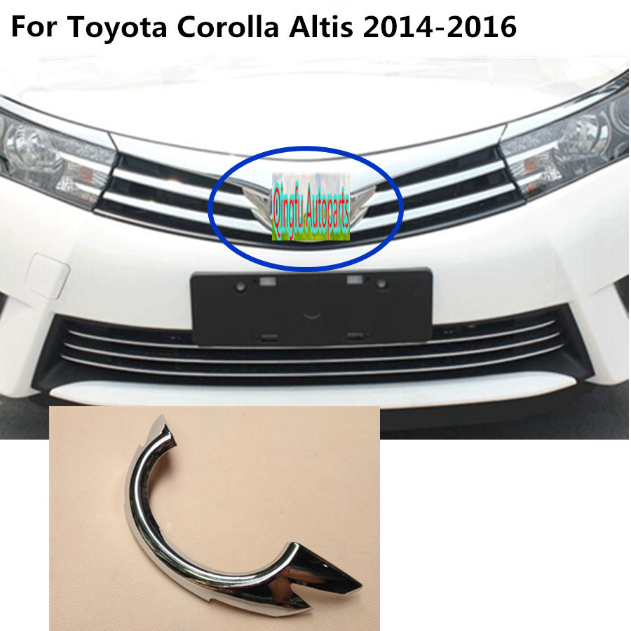 For toyota corolla altis 2014 2015 2016 car body cover detector abs chrome trim front mark logo grid grill grille hoods 1pcs