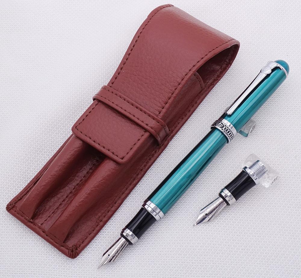 Duke D2 Green Medium Nib Fountain Pen with 1 PCS Calligraphy Fude Bent Nib & A Leather Pencil Case Bag Interchangeable Gift Set сумка olympus pen slim case medium e0412133