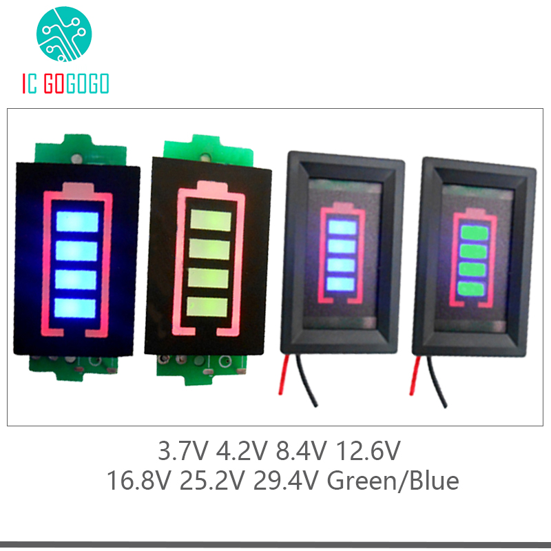1s 2s 3s 4s 6s 7s Lithium Battery Capacity Indicator Module Meter Tester Display 4.2v 8.4v 12.6v 16.8v 25.2v 29.4v Power Level