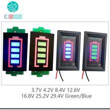Medidor de capacidade da bateria de lítio, testador de capacidade de bateria de lítio 1s 2s 3s 4S 6s 7s e li ion 4.2 nível de energia v 8.4v 12.6v 16.8v 25.2v 29.4v