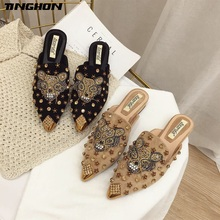 TINGHON Mules Shoes Women Luxury Slippers Female Casual Flat Slides Rivets Ladies Animal Fashion