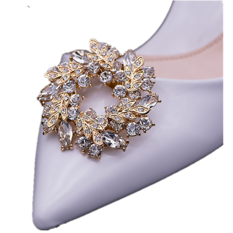 1pair women  shoes flower charms  high-heel pumps accessories crystal diamond shoe clips Fashion wedding decoration buckle gift