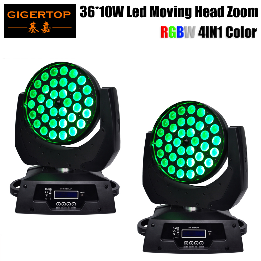 Hi Quality 2pcs/lot 36 x 10W Zoom Led Moving Head Light LCD Display RGBW DMX 14 Channles 90V 240V Lens Angle Ajdustable 15 60