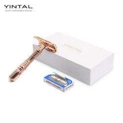 YINTAL ماكينة حلاقة يدوية للرجال باللون الذهبي الوردي شفرة حلاقة سلامة حلاقة مع 10 شفرة لقص شعر اللحية العناية الشخصية
