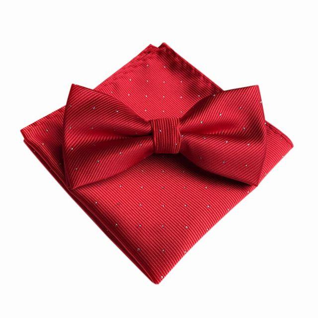 7 Color Men's Fashion Bowtie Hanky Set Groom Gentleman Dots Cravat Pocket Towel Handkerchief Wedding Party 2