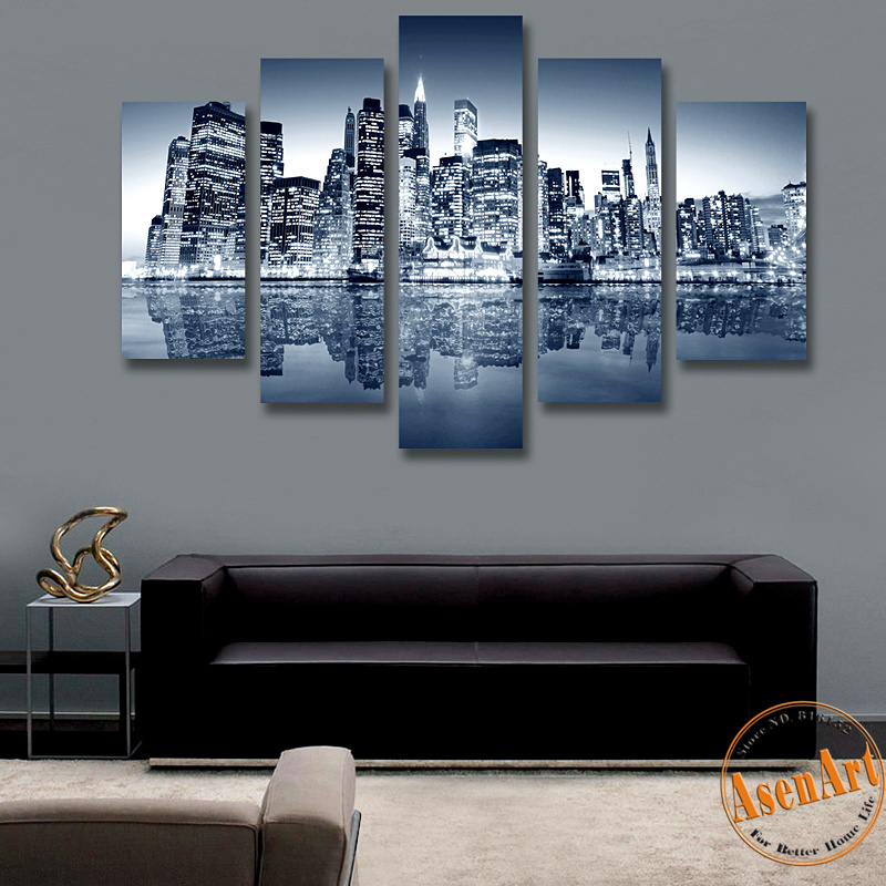 5 panel canvas painting new york city hd print painting for Wall artwork paintings
