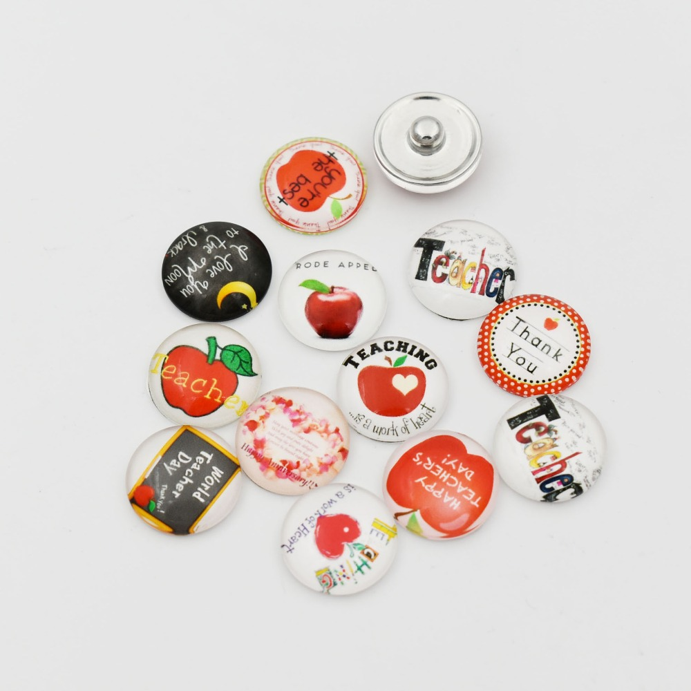 18MM Teacher Snap Button Charms Glass Ginger Button Fit For DIY Snap Bracelet Necklace Jelwery 20PCS Mixed