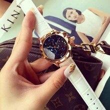 Señoras de La Manera Mujeres Del Reloj de Cuarzo Rhinestone de Cuero Casual Vestido Reloj de Oro Rosa de Cristal de Las Mujeres reloje montre femme mujer 2016