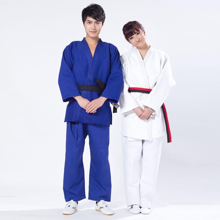 Adult judo gi standard 100% thickening cotton clothes XXS 3XL white blue