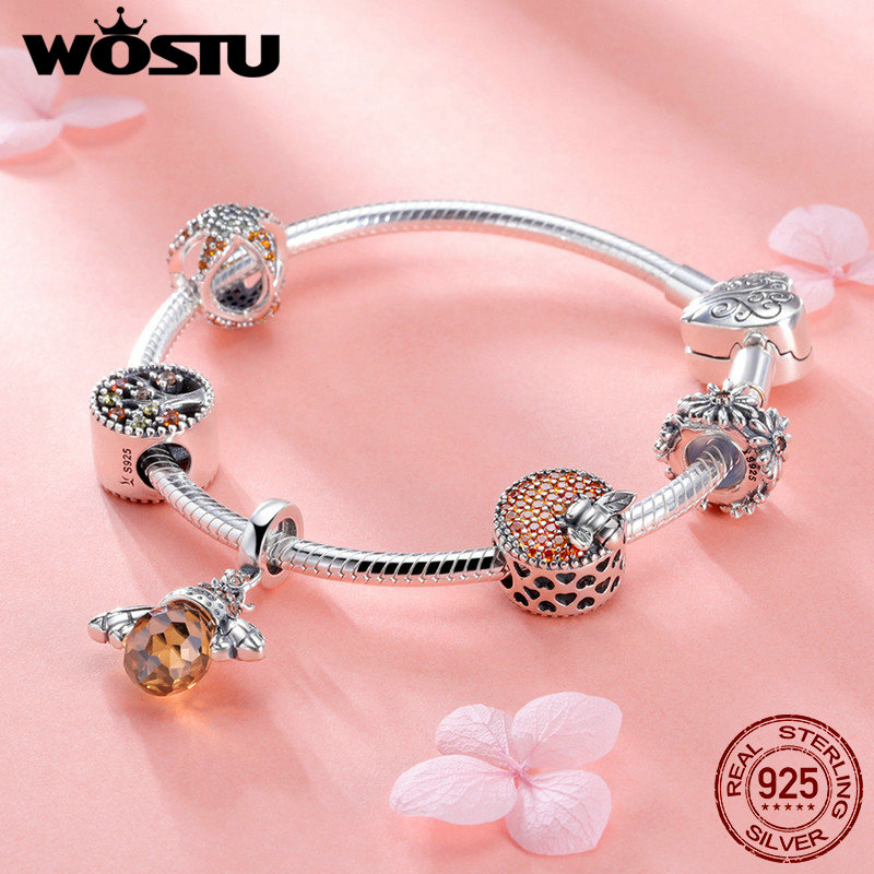WOSTU Original Real 925 Sterling Silver Bee & Daisy Yellow Style Charm Bracelet For Women S925 Silver Bead Jewelry Gift FIB805 rock style star bee heart faux crystal charm bracelet for women