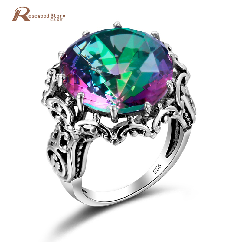 Fashion Cocktail Rings for Women 925 Sterling Silver Fire Rainbow Topaz CZ Ring Vintage Hollowed Round
