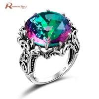 Модные Коктейльные кольца для женщин из стерлингового серебра 925 пробы огненный Радужный топаз CZ Кольцо винтажные выдолбленные круглые веч