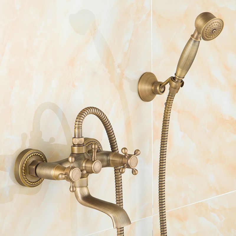 アンティーク起毛真鍮バス蛇口ウォールマウント浴室の洗面台ミキサータップクレーンとハンドシャワーヘッドバス & シャワー蛇口