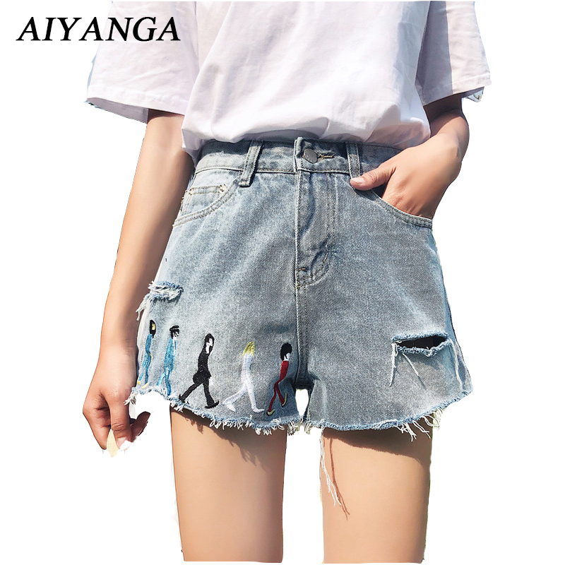 Bottoms Women's Clothing Candid Aiyanga 2018 Hot Summer Embroidery Denim Shorts High Waist Casual Wide Leg Shorts Fashion Ripped Hole Jeans Cool Shorts Distinctive For Its Traditional Properties