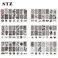 1pcs BC01-20 New 2016 Black Lace Flower Nail Stamping Plates 12x6cm Stainless Steel Nail Art Stamp Templates Manicure Tools