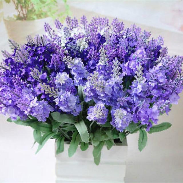 Artificial Purple Flower 10 Lavender Silk Wedding Bouquet Home ...