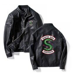 Southside Riverdale Stand kraag Lederen Jassen Slangen Mannen Riverdale Streetwear Lederen Merk zuid side slangen