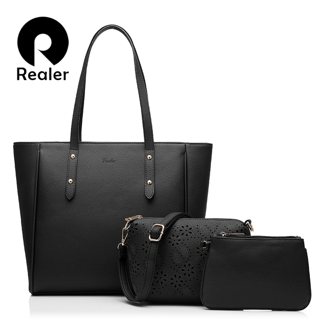 83e37addea REALER brand women handbag 3 sets solid artificial leather tote bag large shoulder  bags ladies purses and handbags