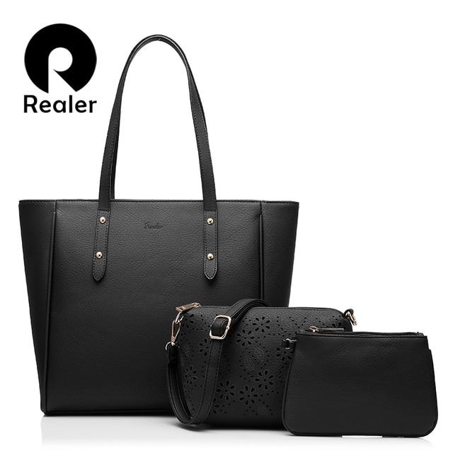 bbbf365ebce2 Realer 3 женские сумки в комплекте, твердая сумка из PU кожи, большая сумка  через