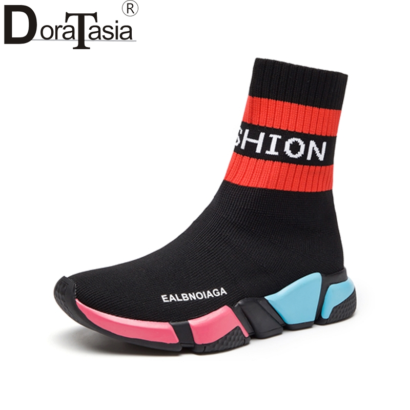 DoraTasia Brand New Round Toe Mixed Colors Platform Shoes Woman Casual Winter Popular Hot Sale Boots Size 35-40